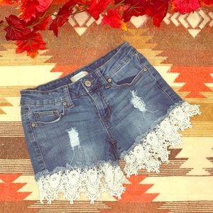Altar'd State denim shorts w/lace trim size 24!